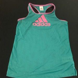 Adidas Mesh Racerback Jersey Tank Turquoise Pink